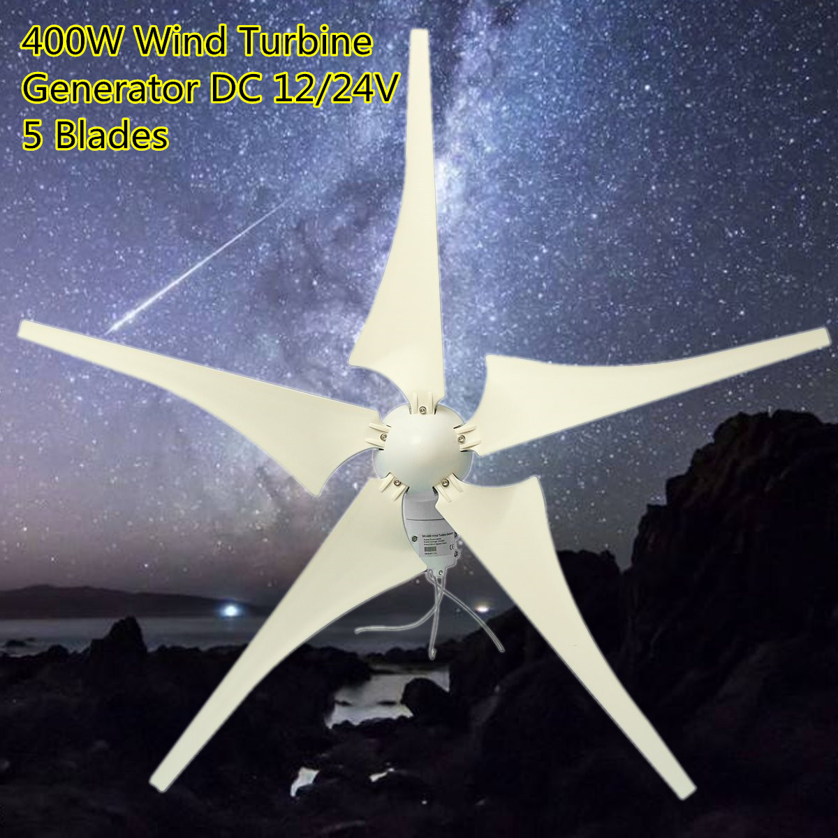400W Wind Turbine Wind Power Generator 5 Blades + DC 12V/24V Waterproof Charge Controller 300/600W Wind Energy Turbine Generator 400w wind generator 12v 24v 48v maglev generator wind turbine with water proof controller 600watt 2 blades 1 3m started