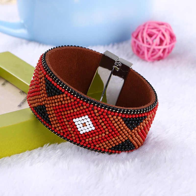 רטרו הלאומי סגנון חרוז צמיד ברזילאי צבעים גיאומטריה צמידים & צמידי רחב מגנטי אבזם בוהמי נשים צמידים