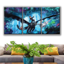 3 Piece HD Pictures How To Train Your Dragon The Hidden World Cartoon Movie Poster Paintings for Home Decor Wall Art