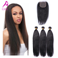 Brazilian Virgin Hair with Closure Brazilian Yaki Straight 3 Bundle with Lace Closure 7A Rosa Queen Hair Products with Closure