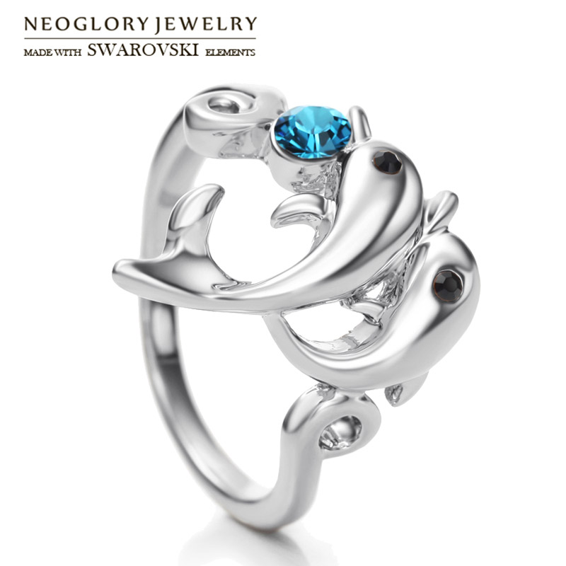 Neoglory Austria Rhinestone Finger Ring Cute Lovely Dolphin Design Alloy  Plated Jewelry Youthful Style For Lady be75cb48a78c