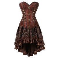 New arrival Women Steampunk Overbust Corset Dress Vintage Gothic Victorian Brocade Corset Skirt Set Halloween Costume Plus Size
