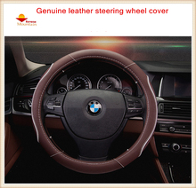 Leather Universal Car Steering-wheel Cover 38CM Car-styling Sport Auto Steering Wheel Covers Anti-Slip Automotive Accessories