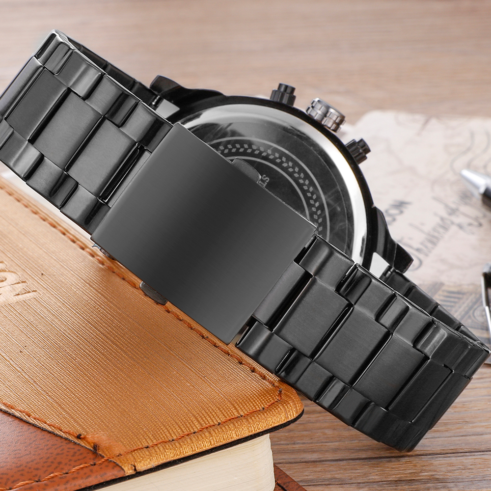 very cool dz big case mens watches full steel band dual time zones miltiary watch men quartz wrist watch free shhipping (8)