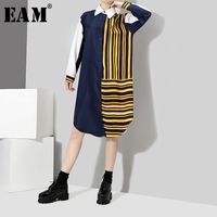 EAM 2018 Spring New Product Hit Color Stitching Irregular Hem Turn Down Collar Long Sleeve