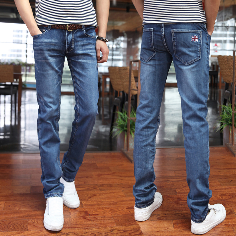 2017 youth stretch jeans men Cultivate ones morality feet pants ICONS trousers