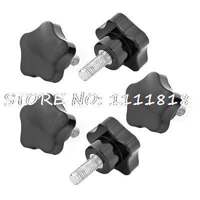 5 x Black M8 x 20 Thread 40mm Dia Bakelite Star Knob Handle for Machine Tool 40mm x 8mm thread screw on type five pointed star knob handle 2pcs