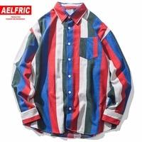 Wide Striped Color Block Patchwork Fashion Designer Shirts Swag Hip Hop Couple Harajuku Shirts Male Shirt Casual Streetwear FC28