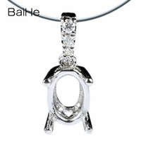 Bridal Solid 14k White Gold Natural Diamonds Pendant Elegant 5x7mm Oval Semi Mount Jewelry Setting