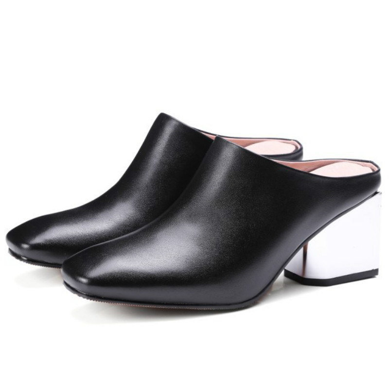 ФОТО brands 2017 fashion women real cow soft genuine leather pumps black gray slingbacks med square heels woman spring summer shoes