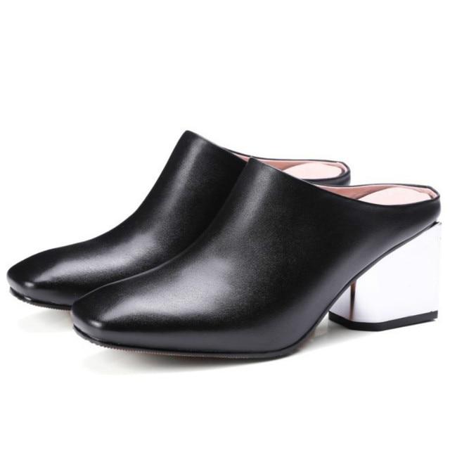 5af13698ac brands 2017 fashion women real cow soft genuine leather pumps black gray  slingbacks med square heels woman spring summer shoes