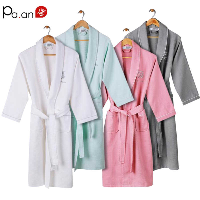 7387962b61 1 Piece Cotton Pink Bathrobe for Women Men Long Sleeve V Neck Thick Adult  Couple Soft
