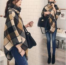 2017 fashion young women tartan clothing British cape girl jacket autumn winter overcoat female fashion lady