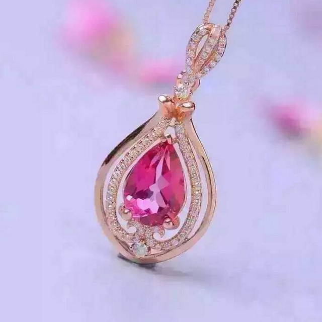 Natural pink topaz pendants s925 sterling silver natural gem water natural pink topaz pendants s925 sterling silver natural gem water droplets pendants fine jewelry for women mozeypictures Gallery