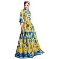 Elegant Design Women S Summer Flare Sleeve Printed Runway Maxi Long Plus Size 4XL Vintage Dress