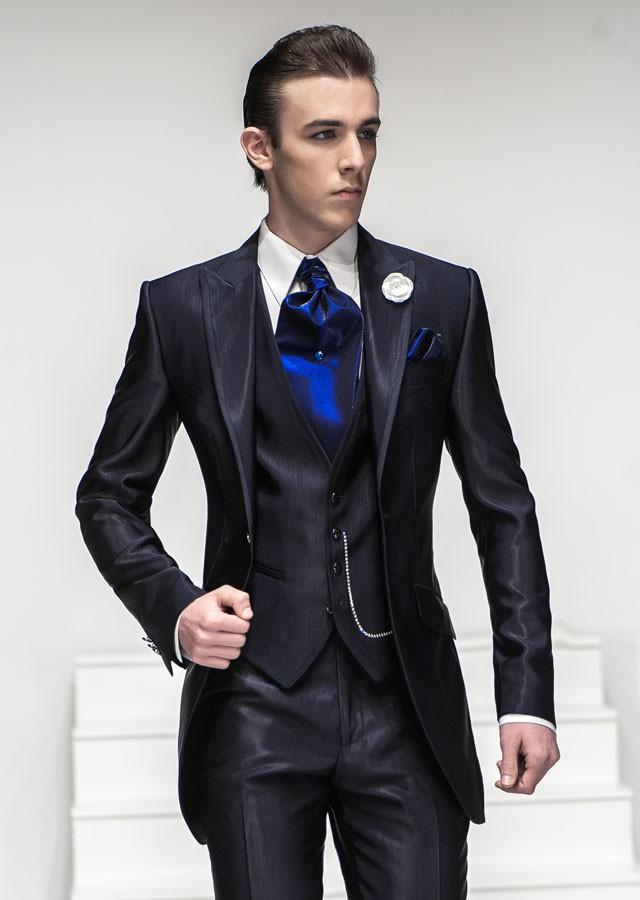 Top Selling/Custom Made. Nice Suit One button Navy Blue Men's
