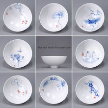 Ceramic Kung FuTea Cups Hand Painted Blue and White Porcelain Jingdezhen Tea Sets From China E
