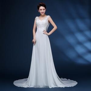 Image 4 - ZJ9054 Corset 2019 Lantejoulas contas de Cristal Do Laço Do Marfim Branco Chiffon Vestidos de Casamento para noivas plus size maxi formal tamanho 2  26 W