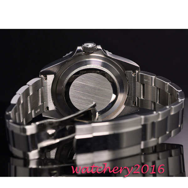 42mm parnis black sterile dial luminous marks date window vintage SEA automatic movement men 39 s Watch in Mechanical Watches from Watches