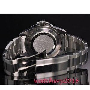 Image 4 - 42mm parnis black sterile dial luminous marks date window vintage SEA automatic movement mens Watch