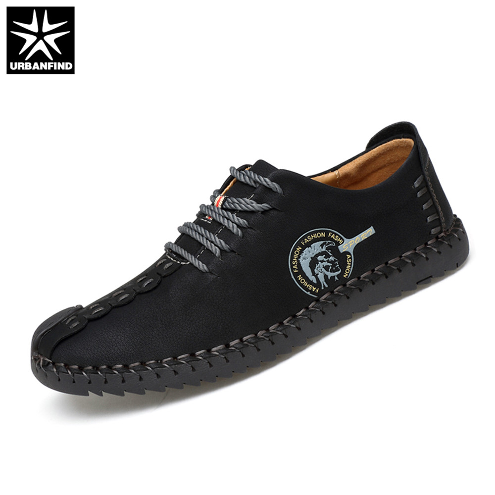 Brand Fashion Men Leather Casual Shoes Size 38-44 Sewing Design Man Lace-up Sneakers Black / Khaki / Yellow casual waterproof boot silicone shoes cover w reflective tape for men black eur size 44 pair