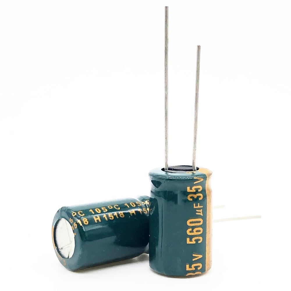 35V 560UF 10*20 High Frequency Low Impedance Aluminum Electrolytic Capacitor 560uf 35v 20%