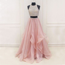 Bbonlinedress New Arrival Evening Dress 2019 A Line Organza Prom Crop Top Beaded Gown Formal Party Dresses