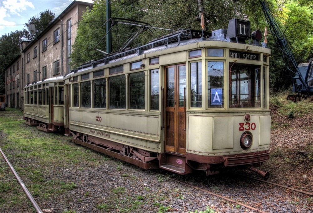 Laeacco Old House Deserted Bus Railway Track Photography Backgrounds Customized Photographic Backdrops For Photo Studio