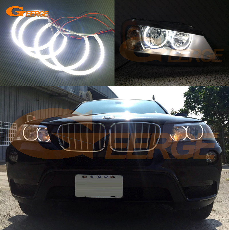 For BMW X3 F25 2010 2011 2012 2013 2014 HALOGEN HEADLIGHT Excellent Angel Eyes Ultra bright illumination smd led Angel Eyes kit 2pcs purple blue red green led demon eyes for bixenon projector lens hella5 q5 2 5inch and 3 0inch headlight angel devil demon
