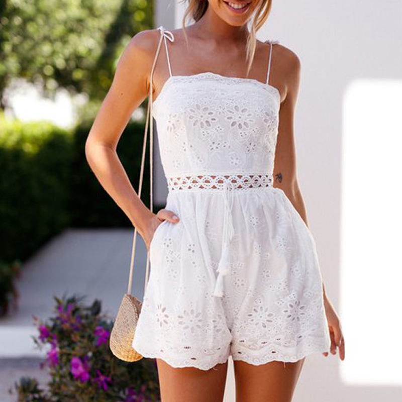 SheMujerSky White Embroidery Playsuits Hollow Out Womens Rompers And   Jumpsuits   Strappy Summer Playsuit 2019
