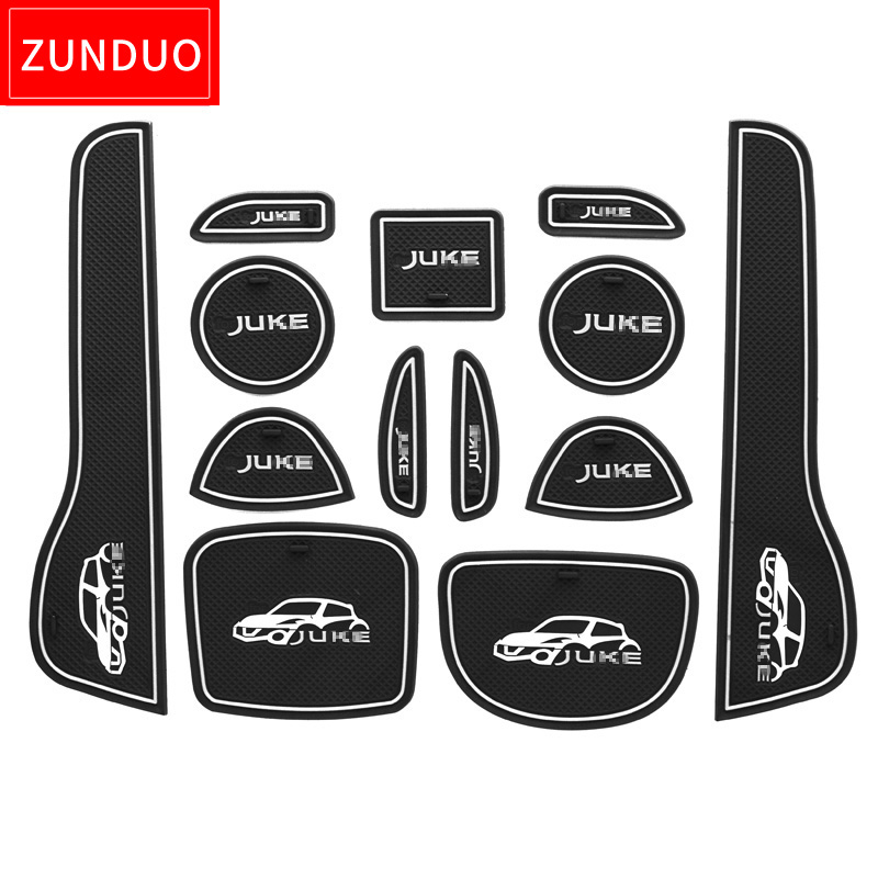 for Nissan Kicks 17-18 Door Gate Slot Storage Pad Interior Cup Mats Console Liner Accessories Non-Slip Anti-dust Rubber 13Pcs Red