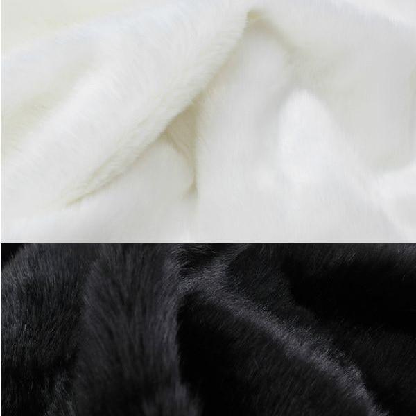 Material de la tela super lujo Imitación Piel-Negro Blanco De Pelo Largo