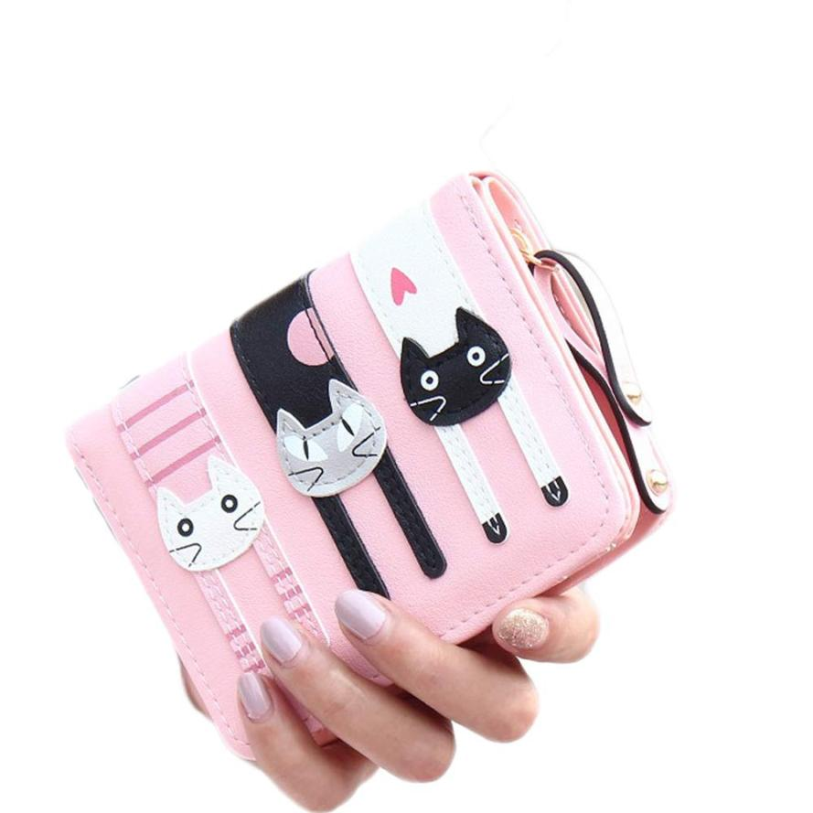 Factory Women Girls Cute Short Standard Wallets PU Leather Cartoon Cats Purse Female Ladies Small Pouch Zipper Coin Purse Wallet 2016 anime one punch man wallets cute pu short cartoon long purse ab195