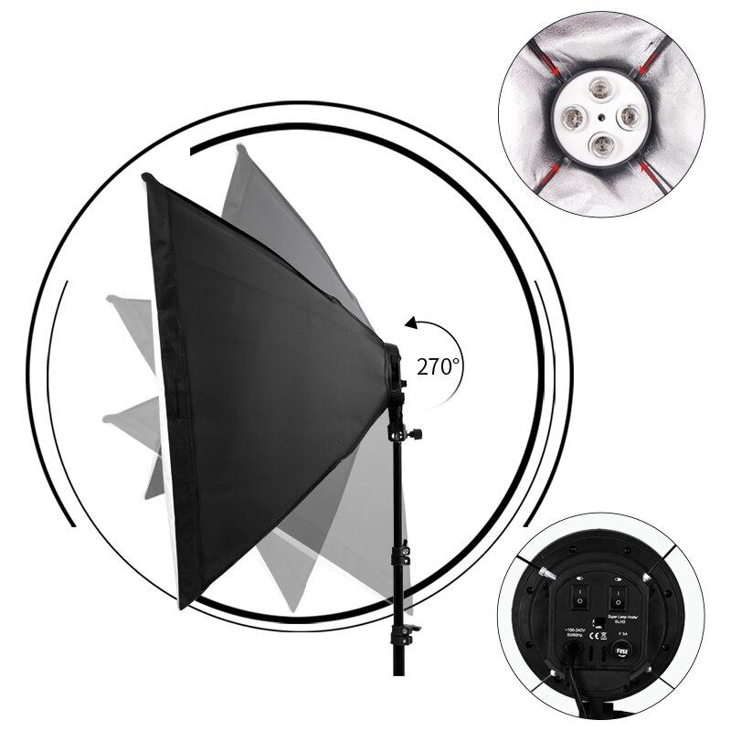 Photo Studio 8 led 20 W kit de boîte à lumière Photographique kit d'éclairage Caméra et accessoires Photo 2 pied de projecteur 2 Softbox pour Appareil Photo - 3