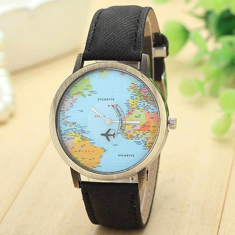 Великолепное Продвижение новый цвет синий Глобальный путешествия на самолете карта женское платье часы ремешок из джинсовой ткани