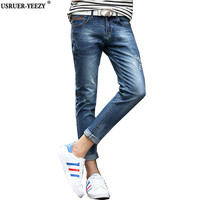 USRUER YEEZY Fashion Jeans Mens Summer Cropped Stretch Slim Fit Blue Tapered Ripped Denim Biker Jeans