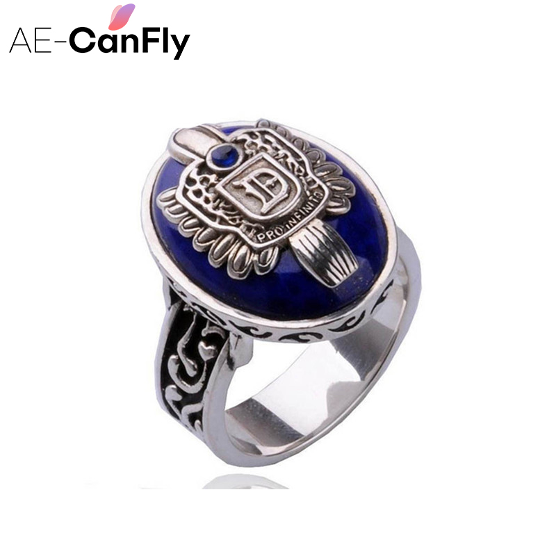 AE-CANFLY The Vampire Diaries Vintage Ring Damon Salvatore Sun Protectation Antique Silver Cincin untuk Wanita US 8 2D3008