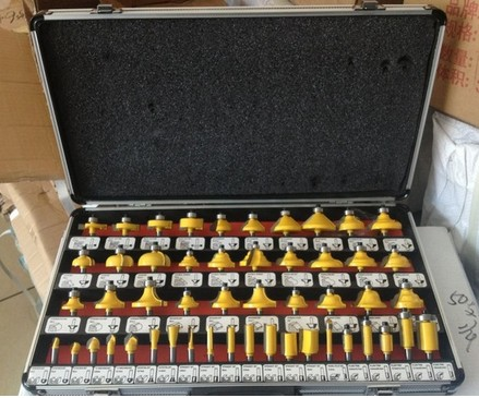 Pro-Grade 50-Piece Tungsten Carbide 1/4-Inch Router Bits Set - Aluminum Case free shipping pro grade 50pcs tungsten carbide 1 2inch router bits set with wooden case