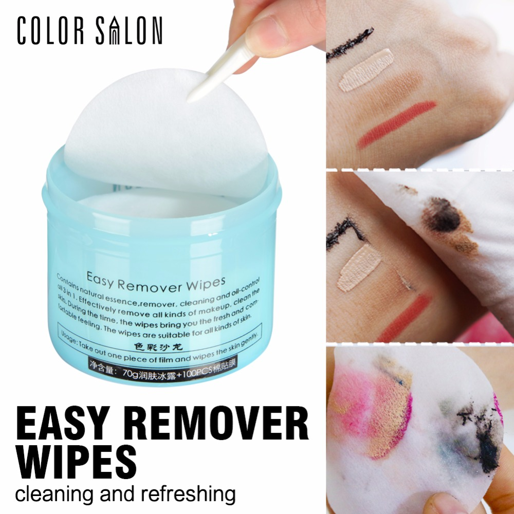 Color Salon high quality easy remover wipes 100pcs wipes with skin moisturizer makeup remover cosmetic 70g+100pcs