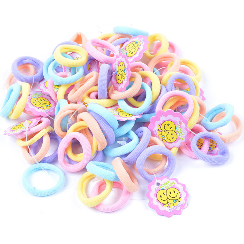 50pcs/Lot Good Quality Girls 3CM Small Ring Colorful Hair Ropes Cute Kids Ponytail Holder Elastic Hair Bands Hair Accessories
