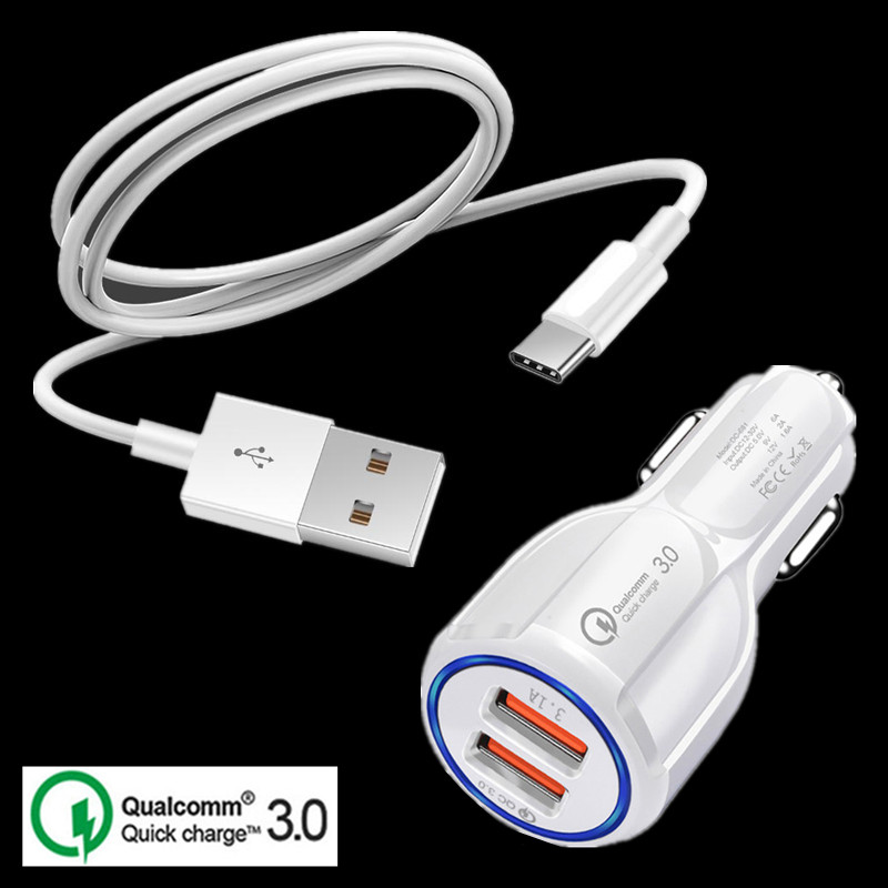 Adapter Car-Charger Type-C-Cable Samsung S8 Google Pixel Qc-3.0 Phone 2 USB For A20/A30/A40/..