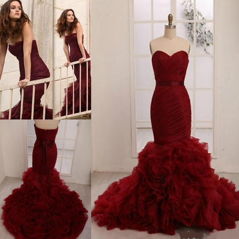 Maroon Wedding Gown: Popular Burgundy Wedding Dresses-Buy Cheap Burgundy
