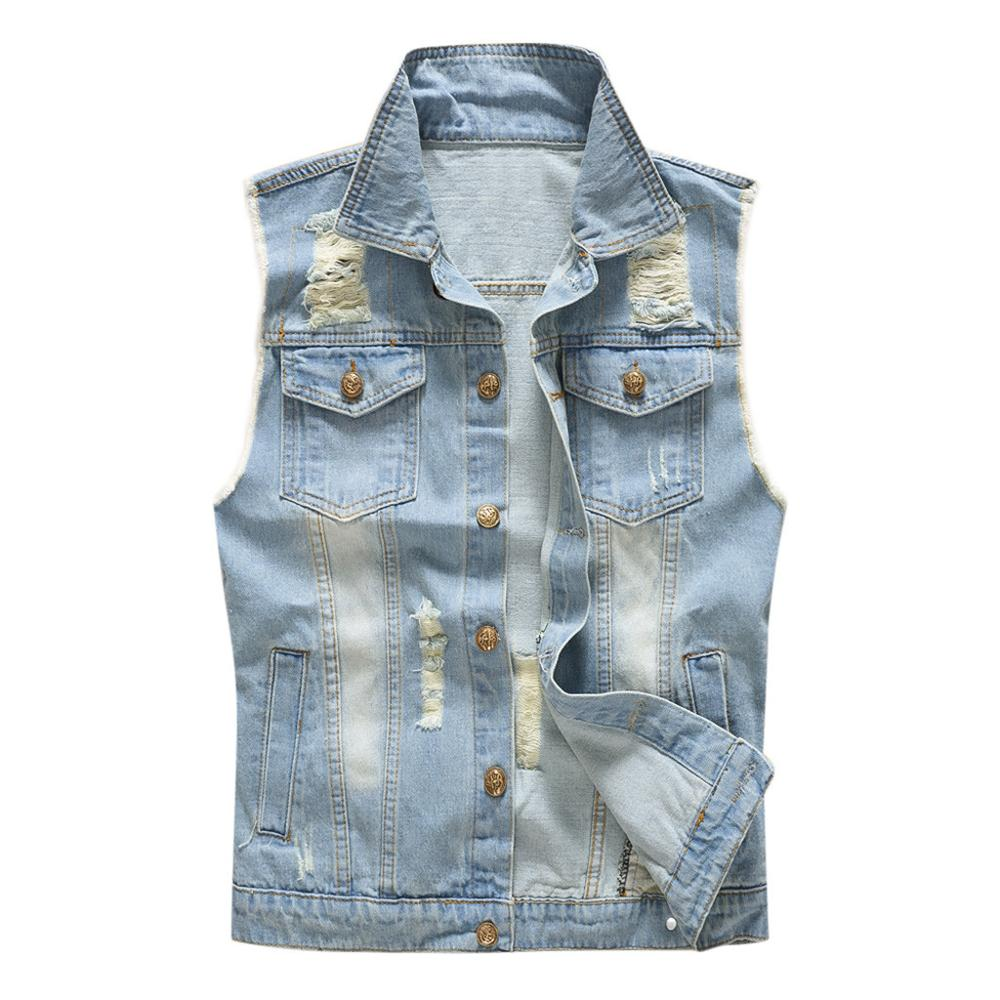 order online outlet sale multiple colors US $26.62 10% OFF|High Quality Men's Cool Denim Vest Casual Cowboy Blue  Jean Jacket Hip Hop Trendy Ripped Waistcoat With Pockets Мужской жилет  N20-in ...