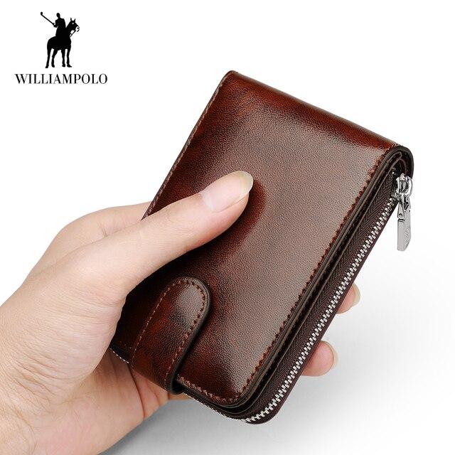 8dc26089a2 WilliamPOLO Fashion Men Wallet Accordion Credit Card Holder Genuine Leather  Multi Card Case Organizer Purse Snap