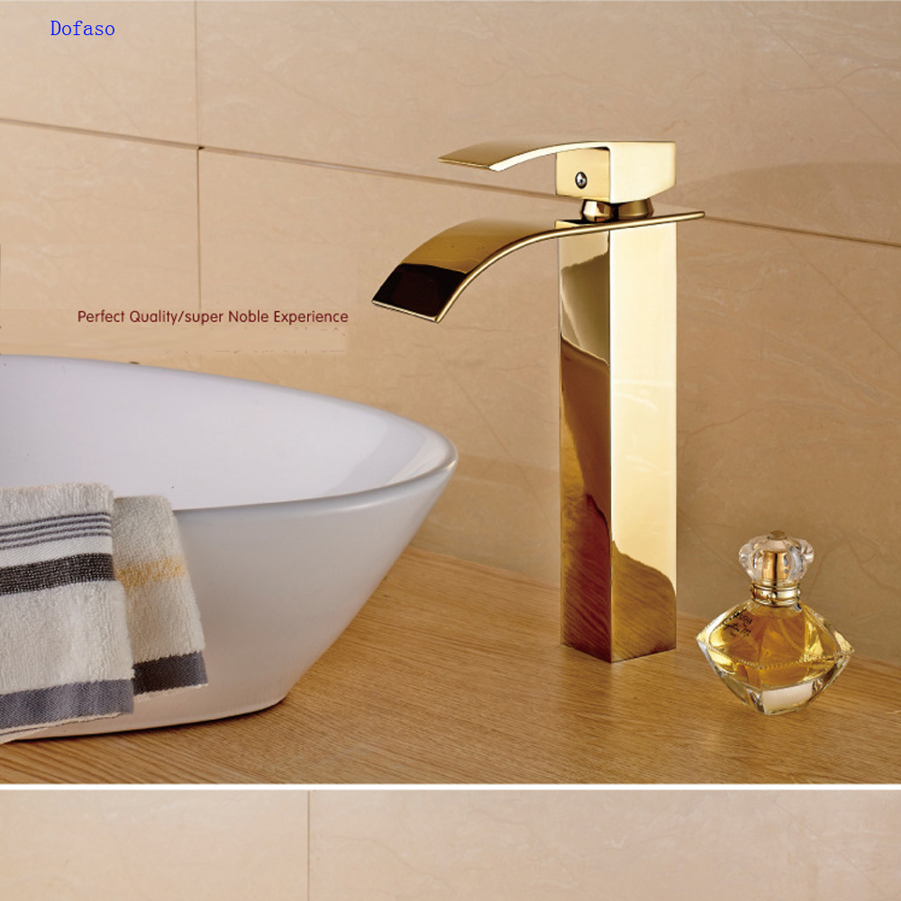 цена на Dofaso luxury gold bathroom basin faucet gold taps all copper hot and cold golden deck faucet