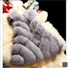 New 2016Winter Fashion Women Import Coat Fur Vest High-Grade Faux Fur Coat Woman Cloak Faux Fox Fur Vest Plus Size: S-XXXL G1699