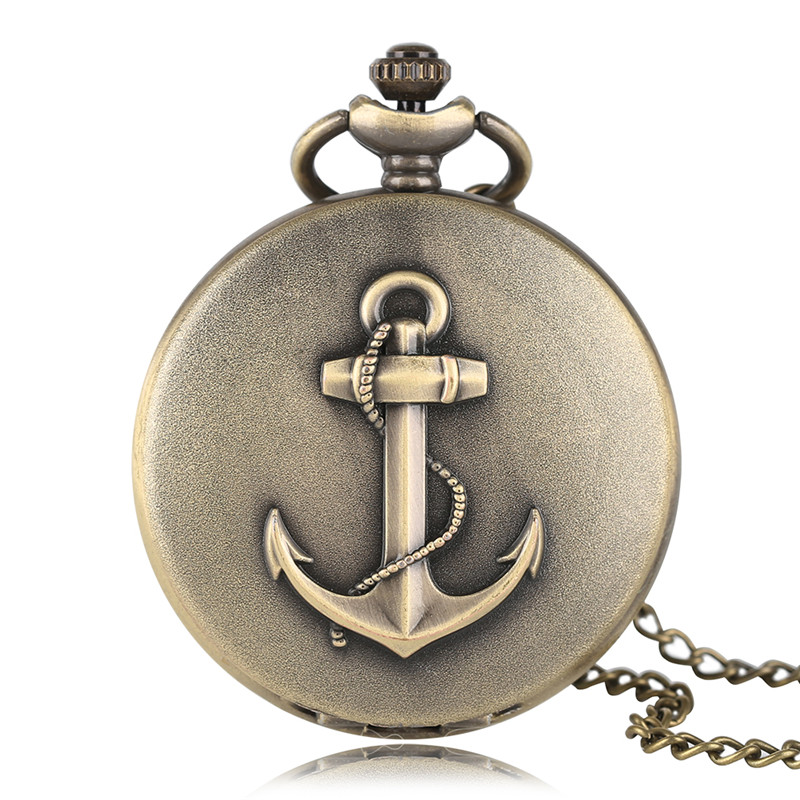 Bronze Cool Full Hunter Anchor Pirate Design Theme Fob Pocket Watch Quartz Roman Number Dial Casual Fashion Chain Best Gift Kids game of thrones full hunter necklace retro house martell men bronze chain sun and spear cool pocket watch new gift