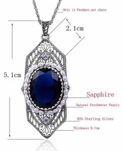 Image 5 - Szjinao Fashion Natrual Pearls Pendant Vintage Fluorite Blue Stone Women 925 Sterling Silver Sapphire Jewelry islam Free Locket