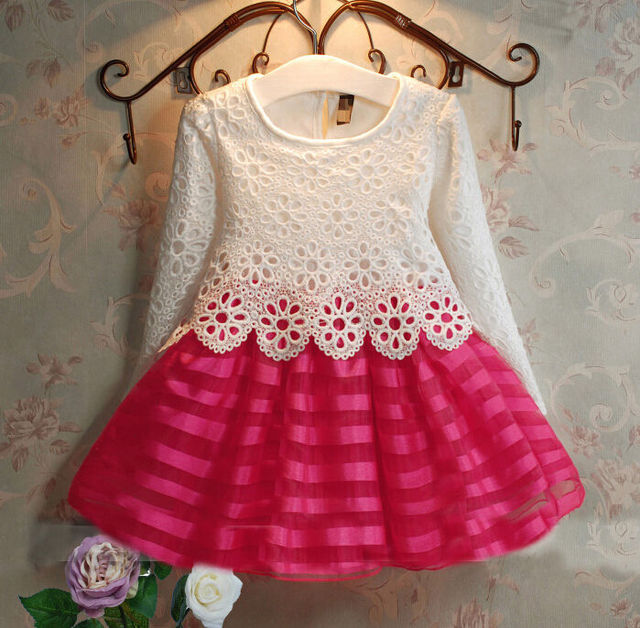 3-8Y Toddler Baby Girls Kids Tutu Crochet Lace Dress Long Sleeve Princess Dress Girls Clothes 3COLORS