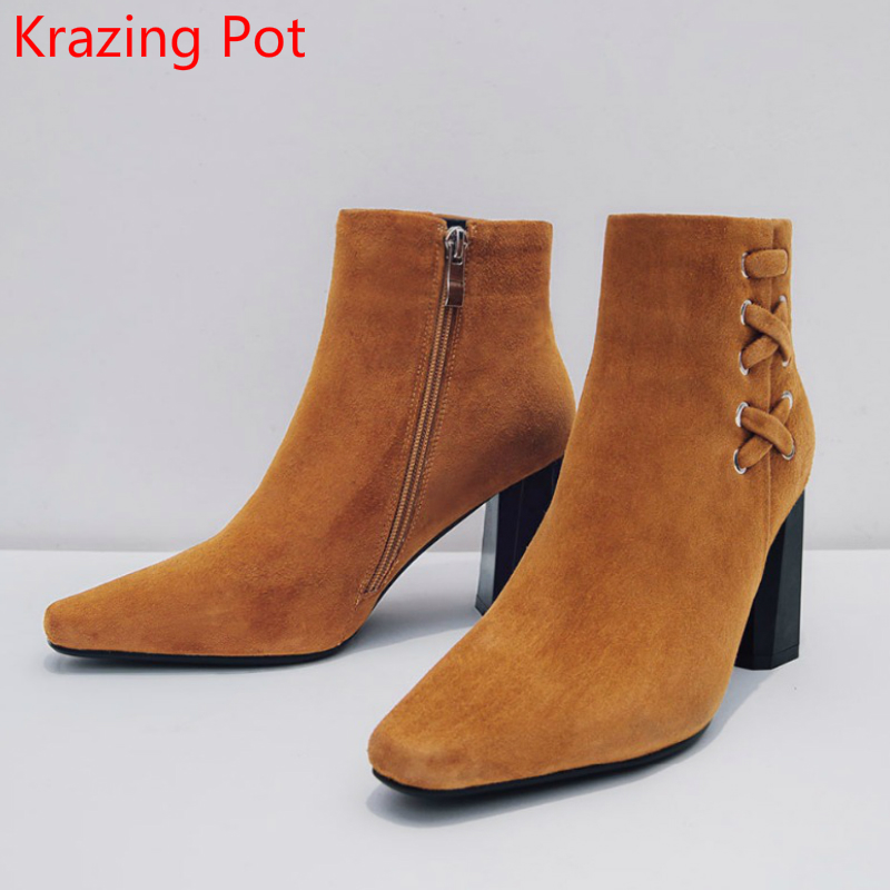2018 Runway Sheep Suede High Heels Fashion Square Toe Winter Boots Superstar Keep Warm Zipper Handmade Ankle Boots for Women L2 2018 superstar cow suede streetwear square toe zipper high heels winter boots keep warm office lady ankle boots for women l50